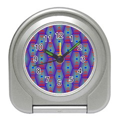 Red Blue Bee Hive Pattern Travel Alarm Clocks by Amaryn4rt