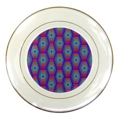 Red Blue Bee Hive Pattern Porcelain Plates by Amaryn4rt