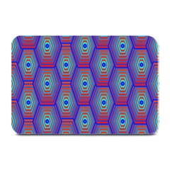 Red Blue Bee Hive Pattern Plate Mats by Amaryn4rt