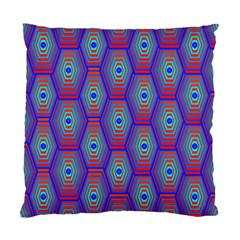 Red Blue Bee Hive Pattern Standard Cushion Case (two Sides) by Amaryn4rt