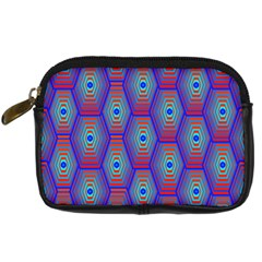 Red Blue Bee Hive Pattern Digital Camera Cases by Amaryn4rt