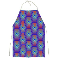 Red Blue Bee Hive Pattern Full Print Aprons by Amaryn4rt