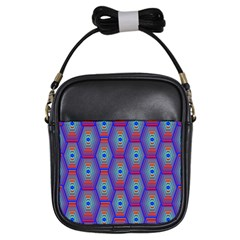 Red Blue Bee Hive Pattern Girls Sling Bags by Amaryn4rt