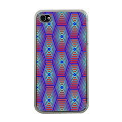 Red Blue Bee Hive Pattern Apple Iphone 4 Case (clear) by Amaryn4rt
