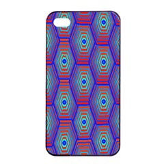 Red Blue Bee Hive Pattern Apple Iphone 4/4s Seamless Case (black) by Amaryn4rt