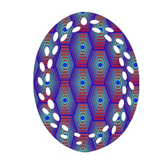 Red Blue Bee Hive Pattern Ornament (oval Filigree) by Amaryn4rt