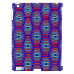 Red Blue Bee Hive Pattern Apple Ipad 3/4 Hardshell Case (compatible With Smart Cover) by Amaryn4rt