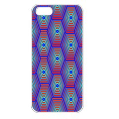 Red Blue Bee Hive Pattern Apple Iphone 5 Seamless Case (white) by Amaryn4rt