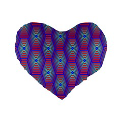 Red Blue Bee Hive Pattern Standard 16  Premium Heart Shape Cushions by Amaryn4rt