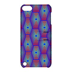 Red Blue Bee Hive Pattern Apple Ipod Touch 5 Hardshell Case With Stand by Amaryn4rt