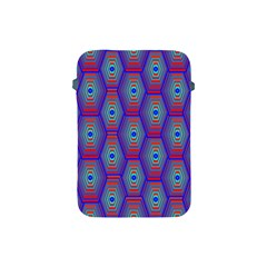 Red Blue Bee Hive Pattern Apple Ipad Mini Protective Soft Cases by Amaryn4rt