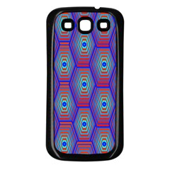Red Blue Bee Hive Pattern Samsung Galaxy S3 Back Case (black) by Amaryn4rt