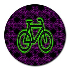 Bike Graphic Neon Colors Pink Purple Green Bicycle Light Round Mousepads by Alisyart