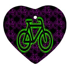 Bike Graphic Neon Colors Pink Purple Green Bicycle Light Ornament (heart) by Alisyart