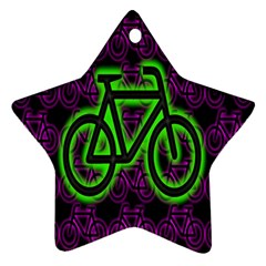 Bike Graphic Neon Colors Pink Purple Green Bicycle Light Ornament (star)