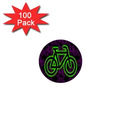 Bike Graphic Neon Colors Pink Purple Green Bicycle Light 1  Mini Buttons (100 Pack)  by Alisyart