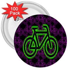 Bike Graphic Neon Colors Pink Purple Green Bicycle Light 3  Buttons (100 Pack)