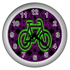 Bike Graphic Neon Colors Pink Purple Green Bicycle Light Wall Clocks (silver)  by Alisyart