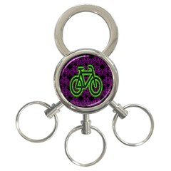 Bike Graphic Neon Colors Pink Purple Green Bicycle Light 3 Ring Key Chains by Alisyart