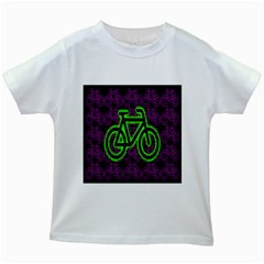 Bike Graphic Neon Colors Pink Purple Green Bicycle Light Kids White T Shirts