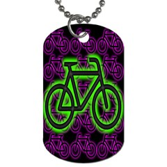 Bike Graphic Neon Colors Pink Purple Green Bicycle Light Dog Tag (one Side)