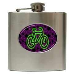 Bike Graphic Neon Colors Pink Purple Green Bicycle Light Hip Flask (6 Oz) by Alisyart