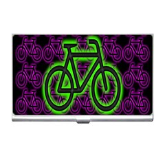 Bike Graphic Neon Colors Pink Purple Green Bicycle Light Business Card Holders
