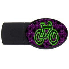 Bike Graphic Neon Colors Pink Purple Green Bicycle Light Usb Flash Drive Oval (2 Gb)