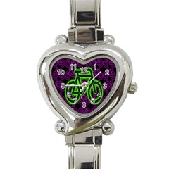 Bike Graphic Neon Colors Pink Purple Green Bicycle Light Heart Italian Charm Watch