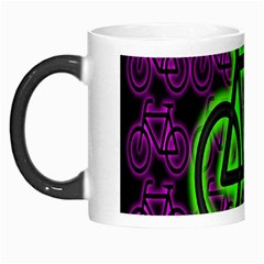 Bike Graphic Neon Colors Pink Purple Green Bicycle Light Morph Mugs by Alisyart