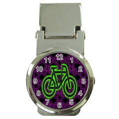 Bike Graphic Neon Colors Pink Purple Green Bicycle Light Money Clip Watches by Alisyart