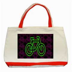 Bike Graphic Neon Colors Pink Purple Green Bicycle Light Classic Tote Bag (red)