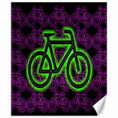 Bike Graphic Neon Colors Pink Purple Green Bicycle Light Canvas 8  X 10