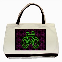 Bike Graphic Neon Colors Pink Purple Green Bicycle Light Basic Tote Bag (two Sides) by Alisyart