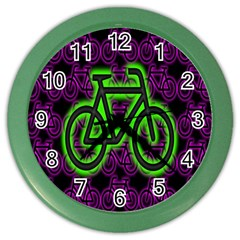 Bike Graphic Neon Colors Pink Purple Green Bicycle Light Color Wall Clocks by Alisyart