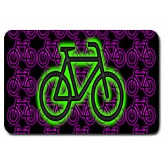 Bike Graphic Neon Colors Pink Purple Green Bicycle Light Large Doormat