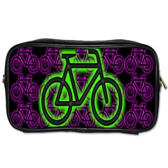 Bike Graphic Neon Colors Pink Purple Green Bicycle Light Toiletries Bags by Alisyart