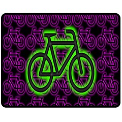 Bike Graphic Neon Colors Pink Purple Green Bicycle Light Fleece Blanket (medium)  by Alisyart