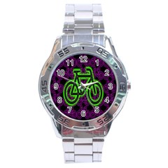 Bike Graphic Neon Colors Pink Purple Green Bicycle Light Stainless Steel Analogue Watch by Alisyart