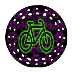 Bike Graphic Neon Colors Pink Purple Green Bicycle Light Round Filigree Ornament (two Sides) by Alisyart