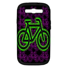 Bike Graphic Neon Colors Pink Purple Green Bicycle Light Samsung Galaxy S Iii Hardshell Case (pc+silicone) by Alisyart