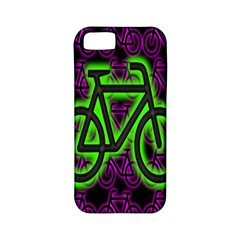 Bike Graphic Neon Colors Pink Purple Green Bicycle Light Apple Iphone 5 Classic Hardshell Case (pc+silicone)