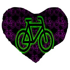 Bike Graphic Neon Colors Pink Purple Green Bicycle Light Large 19  Premium Heart Shape Cushions by Alisyart