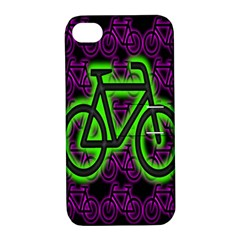 Bike Graphic Neon Colors Pink Purple Green Bicycle Light Apple Iphone 4/4s Hardshell Case With Stand by Alisyart