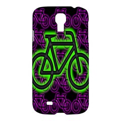 Bike Graphic Neon Colors Pink Purple Green Bicycle Light Samsung Galaxy S4 I9500/i9505 Hardshell Case