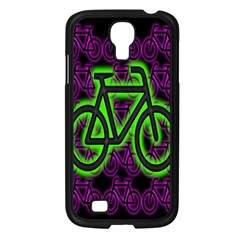 Bike Graphic Neon Colors Pink Purple Green Bicycle Light Samsung Galaxy S4 I9500/ I9505 Case (black)