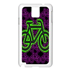 Bike Graphic Neon Colors Pink Purple Green Bicycle Light Samsung Galaxy Note 3 N9005 Case (white)