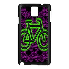 Bike Graphic Neon Colors Pink Purple Green Bicycle Light Samsung Galaxy Note 3 N9005 Case (black)