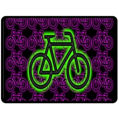 Bike Graphic Neon Colors Pink Purple Green Bicycle Light Double Sided Fleece Blanket (large)
