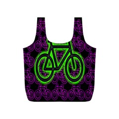 Bike Graphic Neon Colors Pink Purple Green Bicycle Light Full Print Recycle Bags (s)  by Alisyart
